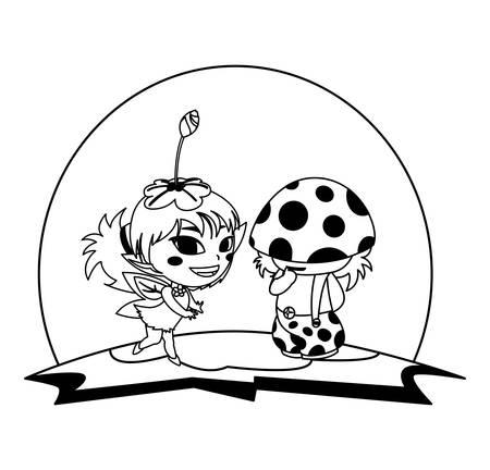 beautiful magic fairy and fungu elf in the garden vector illustration design Standard-Bild - 138022962