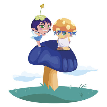 beautiful magic fairy and fungu elf in the garden vector illustration design Standard-Bild - 138023216