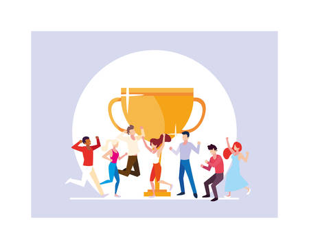 group of people with gold trophy vector illustration design