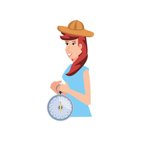 woman with compass guide isolated icon vector illustration design Zdjęcie Seryjne - 138023295