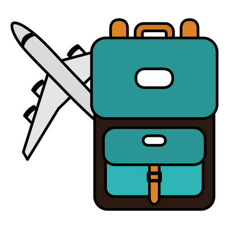 suitcase travel with airplane flying vector illustration design Ilustrace