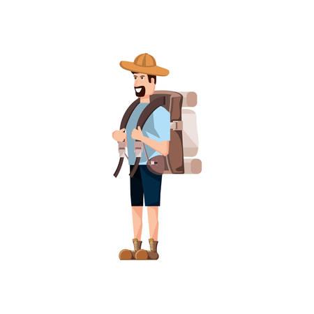 traveler man with travel bag avatar character vector illustration design