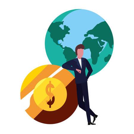 businessman coin money world vector illustration design