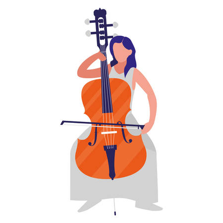violinist playing violoncello character vector illustration design