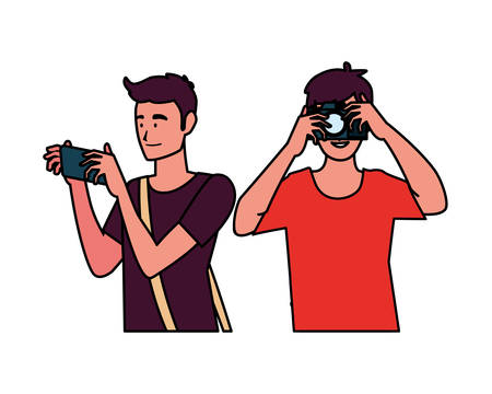 Men with camera design, Device gadget technology photography equipment digital and photo theme Vector illustration