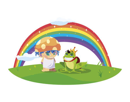 toad prince and fungu elf with rainbow vector illustration design Standard-Bild - 138023928