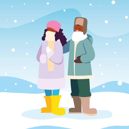 couple of people with winter clothes in landscape with snowfall vector illustration design 向量圖像
