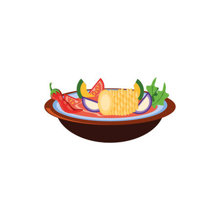 traditional mexican cuisine soup on white background vector illustration design Çizim