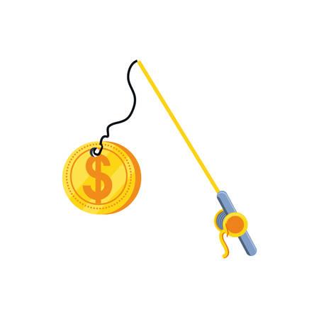 fishing rod with coin dollar vector illustration design Иллюстрация