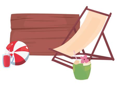 summer time holiday beach chair ball coconut wooden board vector illustration Foto de archivo - 138184718