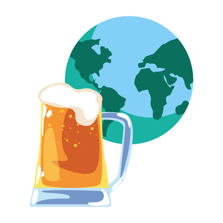 beer world happy fathers day vector illustration