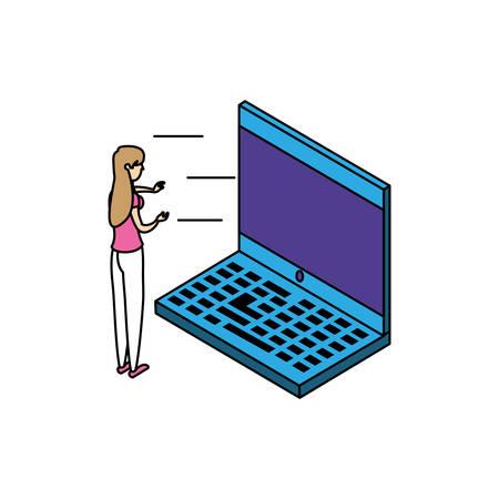 businesswoman worker with laptop computer vector illustration design