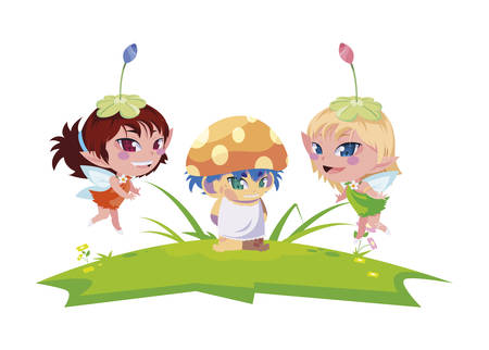 beautiful magic fairies with fungu elf in the garden vector illustration design