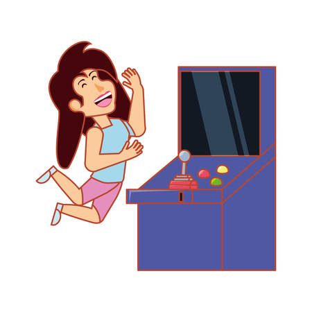 girl playing in retro console video game machine vector illustration design 向量圖像