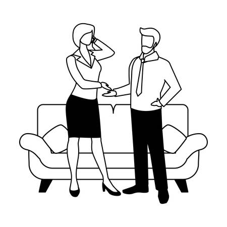 couple in the living room on white background vector illustration design