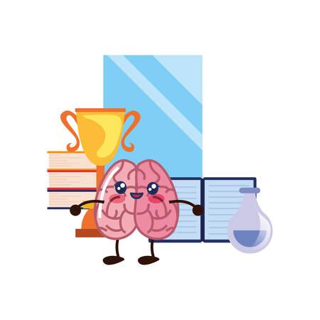 brain cartoon education mobile trophy books vector illustration