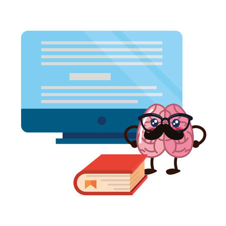 brain cartoon education computer book vector illustration