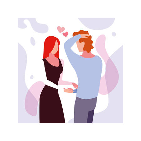 couple of people in love, man and woman embracing each other affectionately vector illustration design Ilustrace