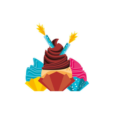 sweet cupcakes pastry with candles of birthday vector illustration design