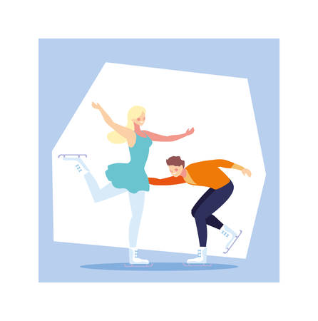 couple of people practicing figure skating vector illustration design