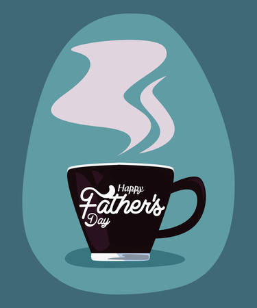 hot coffee cup happy fathers day vector illustration Archivio Fotografico - 138044890