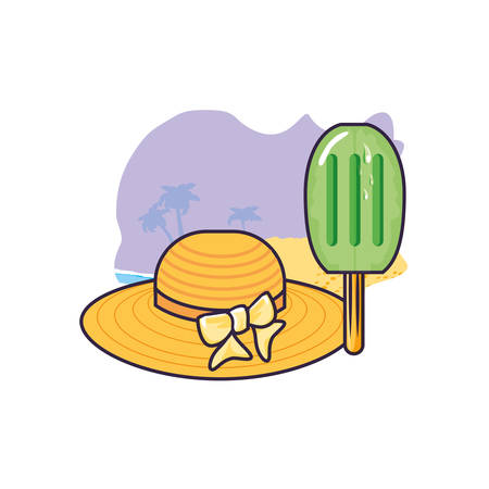 hat female wicker in the beach with ice cream in stick vector illustration design Ilustracja