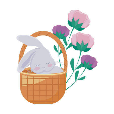 cute rabbit in basket wicker with flowers vector illustration design Ilustracja
