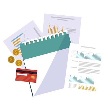office supplies with calendar items vector illustration design Ilustração
