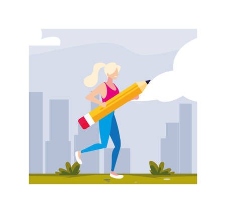 young woman holding a pencil to write vector illustration design