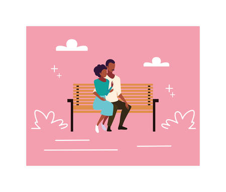 couple of people in love sitting in the park chair vector illustration design