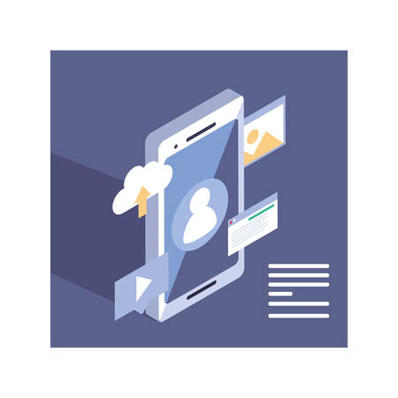 smartphone screen with mobile applications vector illustration design