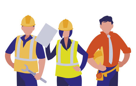 Builders architects engineers men and woman design of Construction working maintenance worker job workshop repairing and progress theme Vector illustration