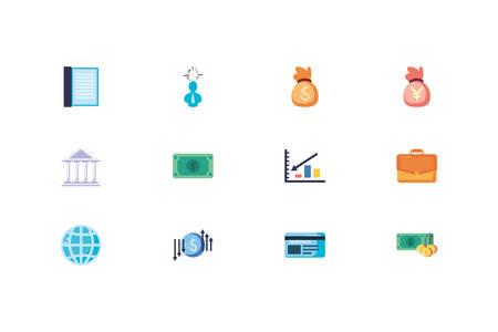 Business icon set design, Management workforce financial item corporate investment success technology and job theme Vector illustration Foto de archivo - 138047105