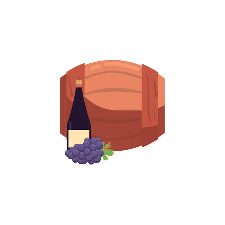 Wine barrel and grapes design of Winery alcohol drink beverage restaurant celebration and party theme Vector illustration Ilustracja