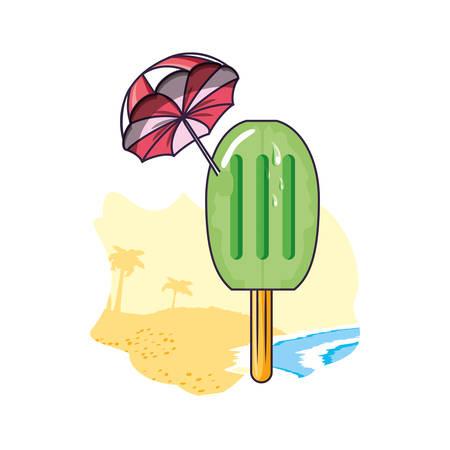 ice cream with stick in the beach and umbrella vector illustration design Çizim