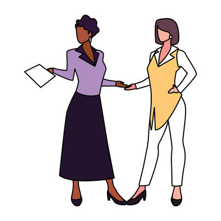cute businesswomen with various views, poses and gestures vector illustration design Foto de archivo - 138047787