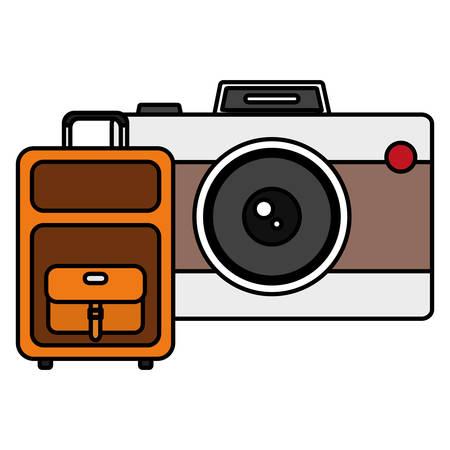 suitcase travel with camera photographic vector illustration design Иллюстрация