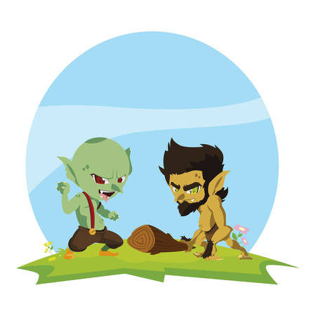 ugly troll with caveman gnome in the camp magic characters vector illustration