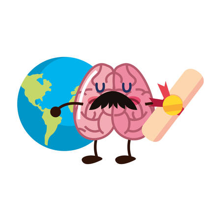 brain cartoon education diploma world vector illustration