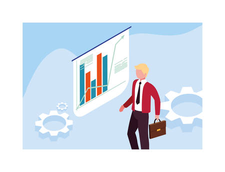man with graphs in front, business working processes vector illustration design Illustration