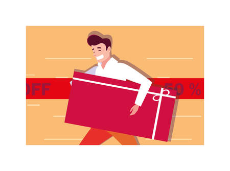 man shopping design, Black friday shop sale offer and discount theme Vector illustration