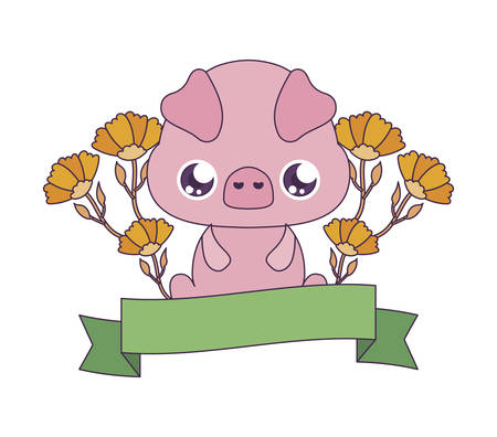 pig cartoon with flowers and ribbon design, Kawaii expression cute character funny and emoticon theme Vector illustration