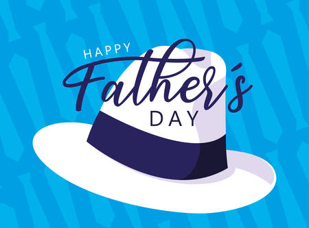 happy father day card with gentleman hat vector illustration design