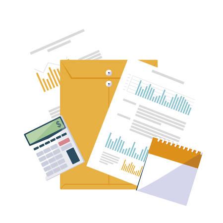 office supplies and manila envelope vector illustration design