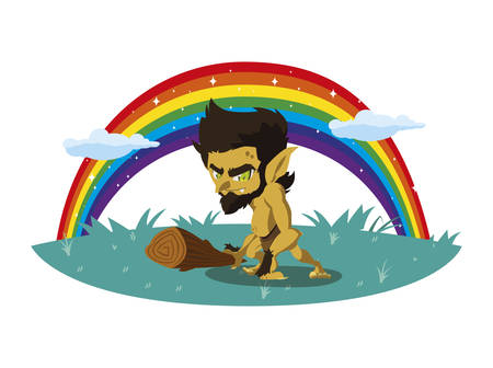 caveman gnome with rainbow magic character vector illustration design