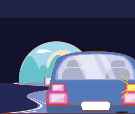 car on the road over black background, colorful design. vector illustration