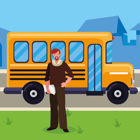 teacher male with documents in stop bus vector illustration design