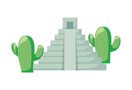 cactus with pyramid mexican isolated icon vector illustration design 向量圖像