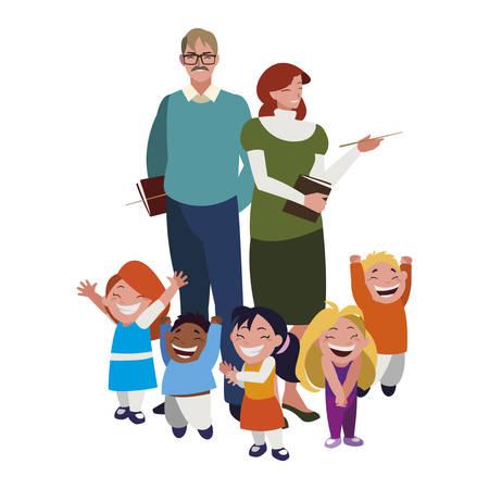 teachers couple with little students vector illustration design