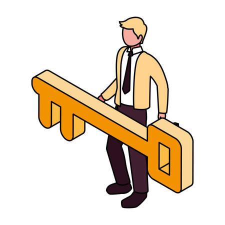 businessman with golden key on white background vector illustration design Ilustração